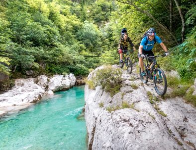 easy mtb trail next to soča in bovec slovenia