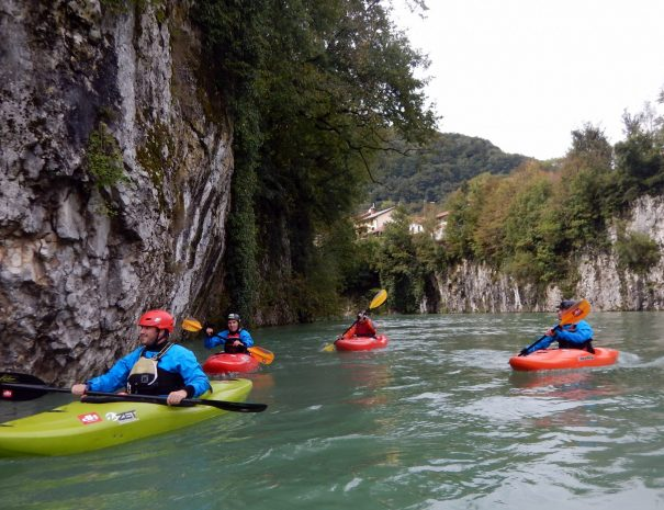 guided kayak trip around idrijca gorge in slovenia