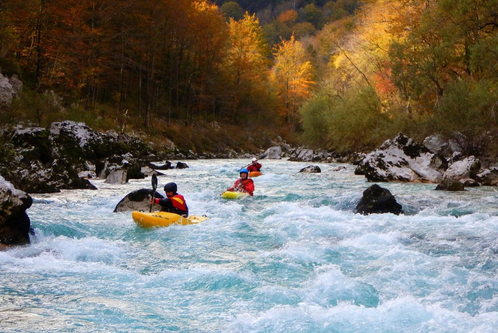 Kayaking Soča on Srpenica 1 - Trnovo 1 G3 section