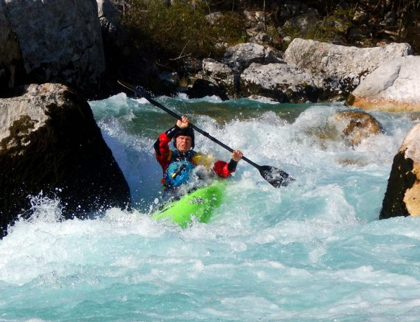 advanced kayaker on otona section of soča river