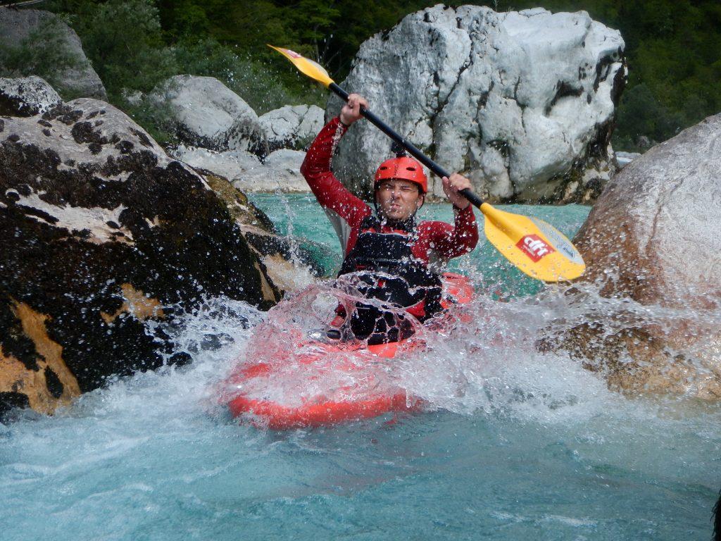 advanced kayak course slovenia on soca river