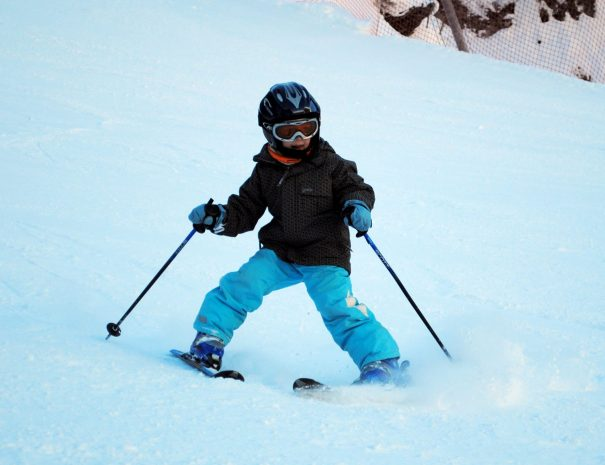 Ski school for smaller children in Slovenia and Italy