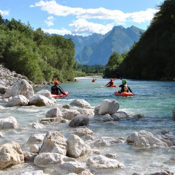 soca river kayak guide on guided kayak descent from bovec slovenia