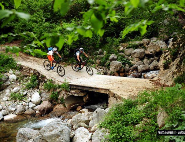 trans slovenia bike path over creek