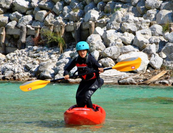 stand up kayak on soča river