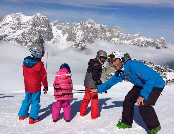 kids having fun on ski course in bovec slovenia