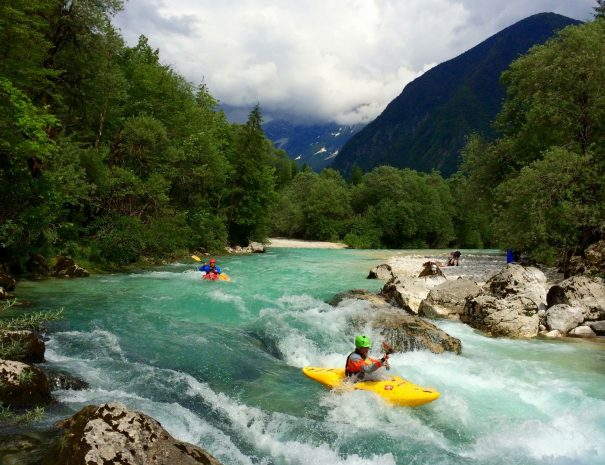 beautiful intermediate kayak descent from upper trenta valley slovenia