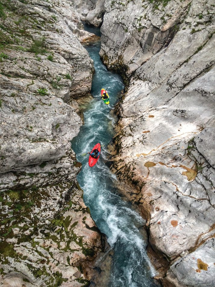kayaking soca gorge canyon for advanced paddler in slovenia