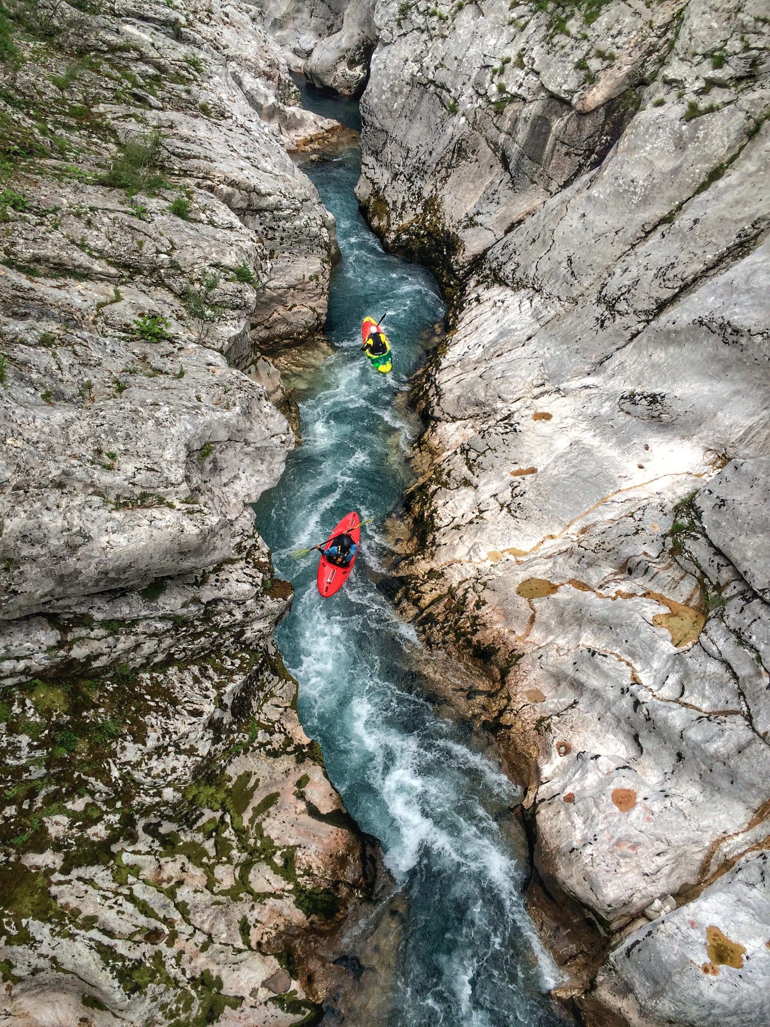 kayaking soca gorge canyon for advanced paddler in slovenia