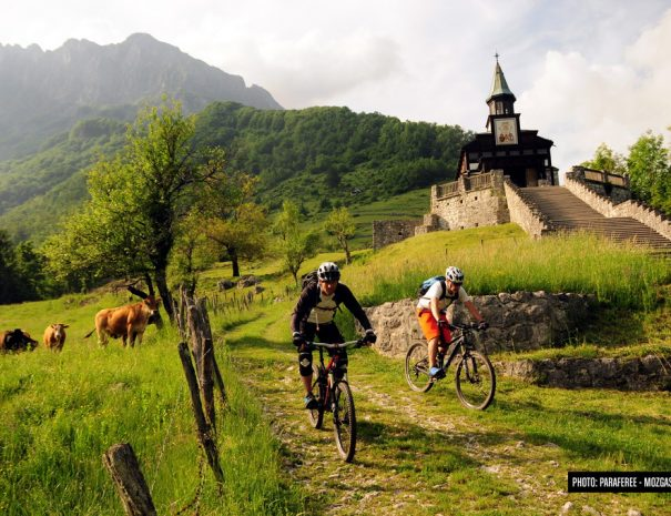 MTB tour Matajur and cute church with cows in the back slovenia