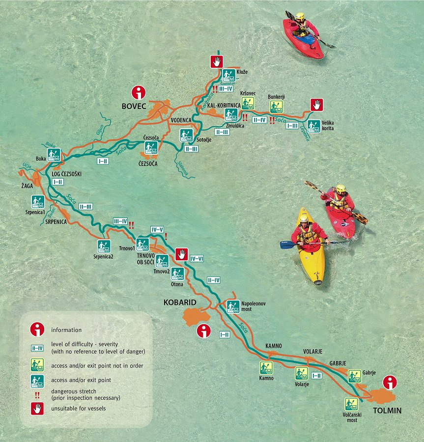 Soča river kayaking map, Bovec (Slovenia)
