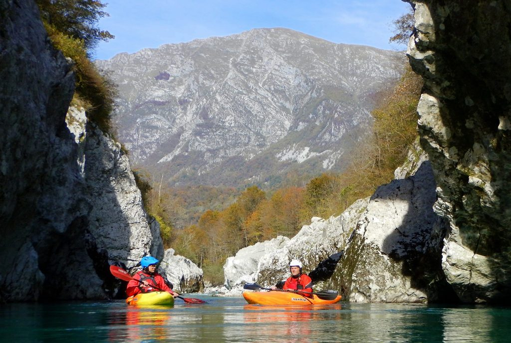 Soča Kayaking under Napoleon Bridge near Kamp Koren in Kobarid, Slovenia