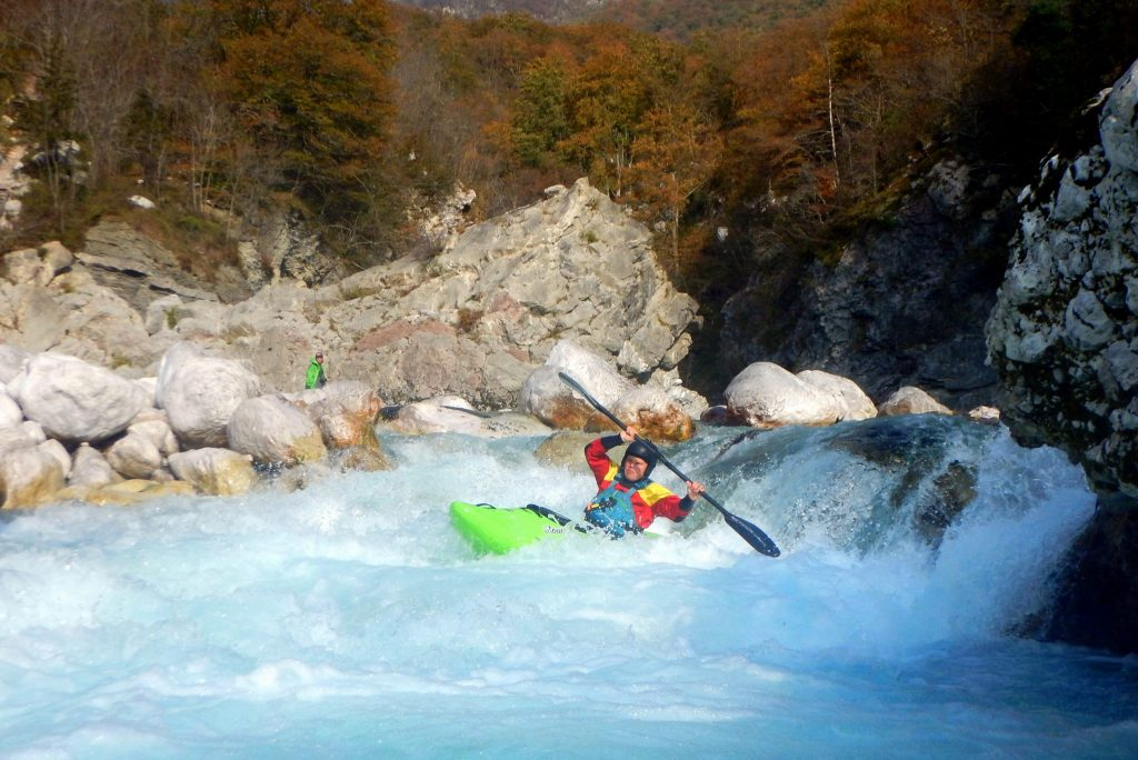 Advanced kayaking on Soča - Otona section in Kobarid, Slovenia