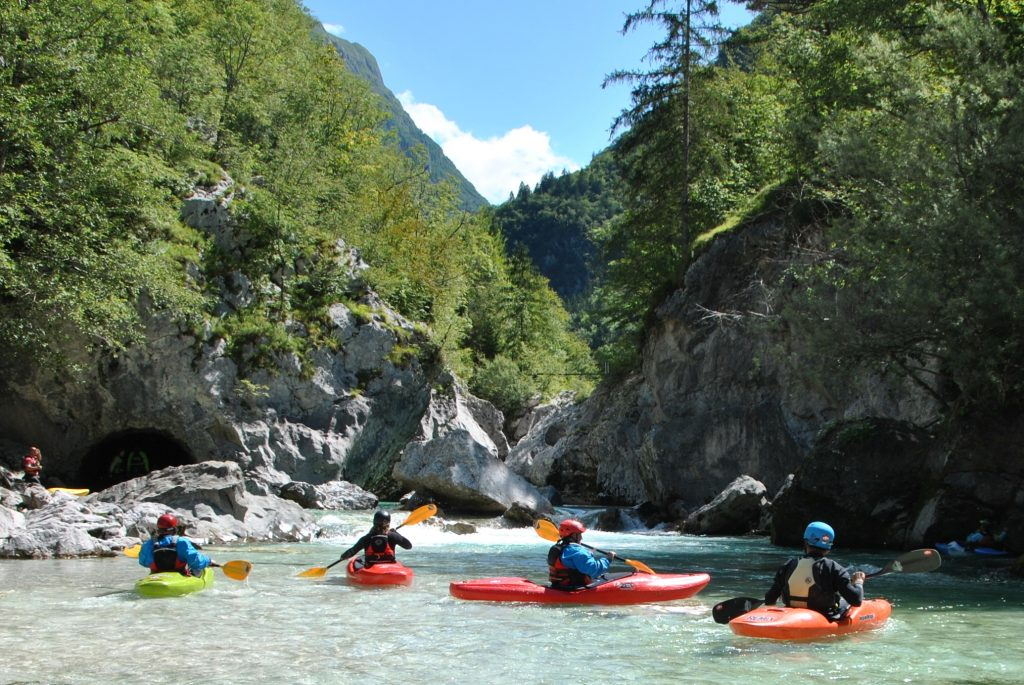 Kayaking Golobar - Zmuklica section on Soča river in whitewater kayaking paradise in Slovenia