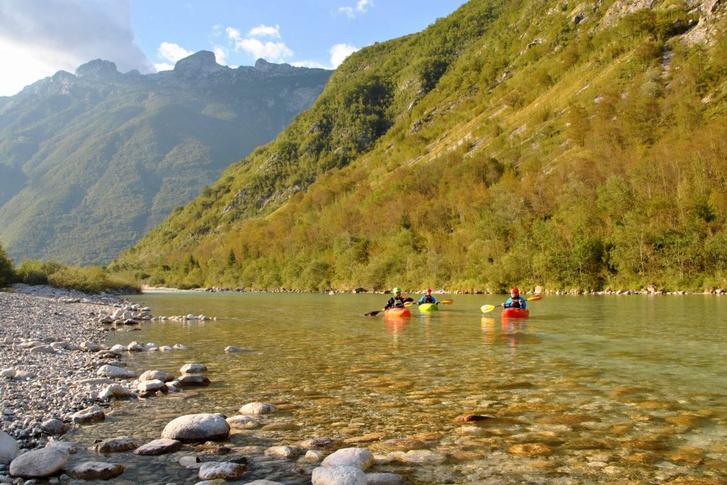 kayaking slovenia and horse riding next to Soča river, Bovec