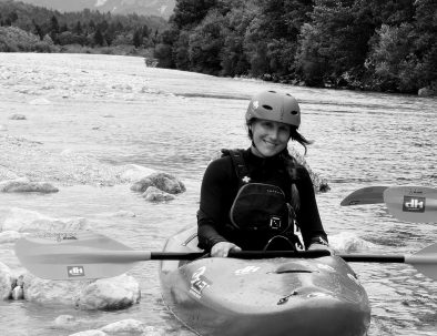 female Kayak Guide on Soča river from dksport in Bovec Slovenia
