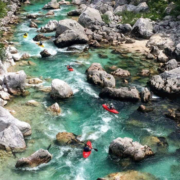 Slalom section Trnovo ob Soči is perfect for advenced kayaking on Soča river!